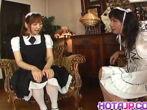 Runna Sakai naughty Asian waitress gets legs spread for puss